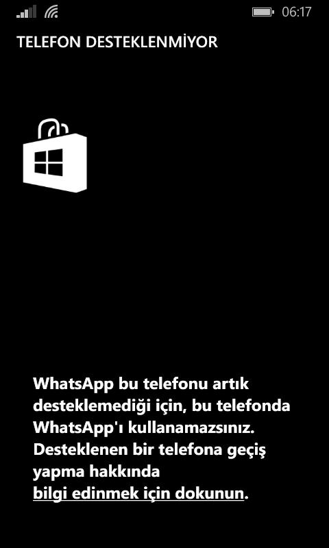 whatsappın bazı telefonlarda artık desteklenmeme
