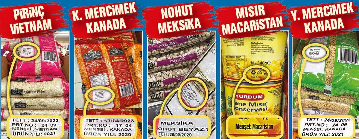 market raflarındaki yerli ve milli ithal ürünler