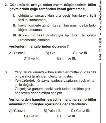 meb biyoloji dersi kazanım testi skandal soruları