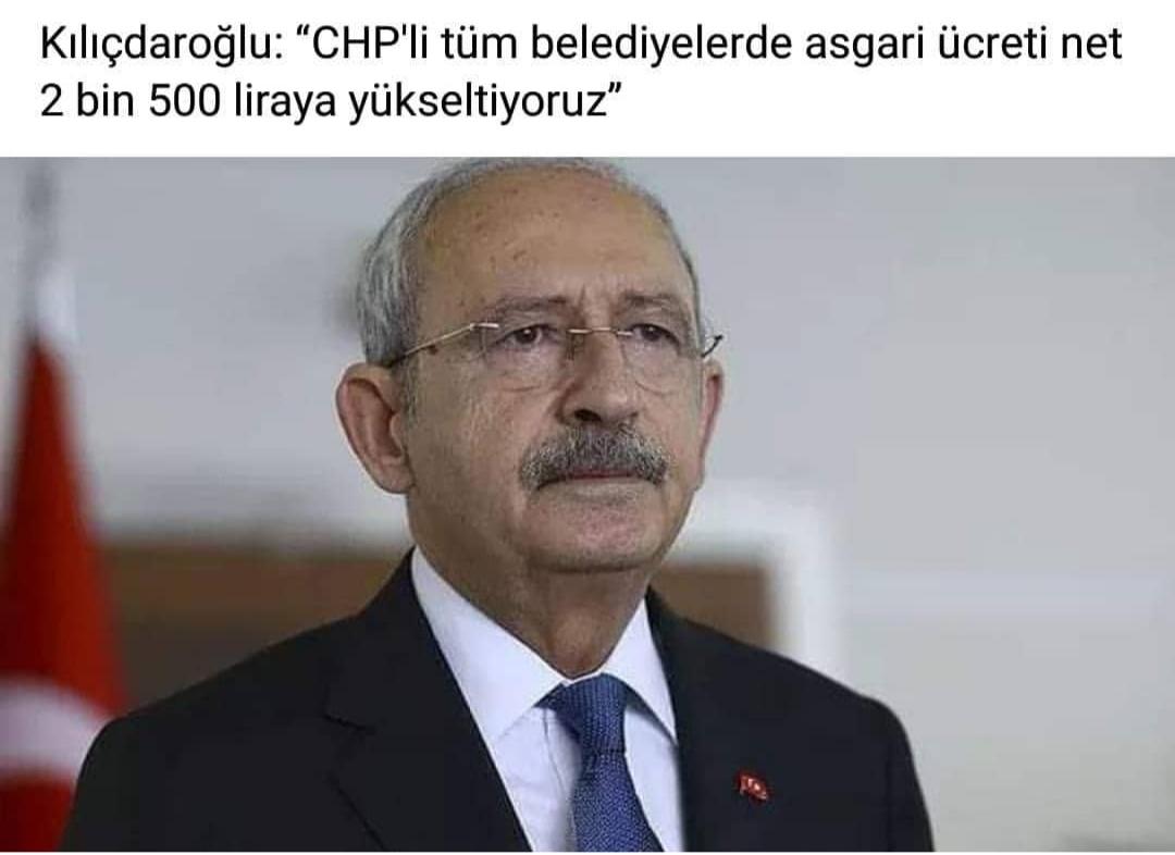 chp belediyelerinde asgari ücretin 2500 tl olması