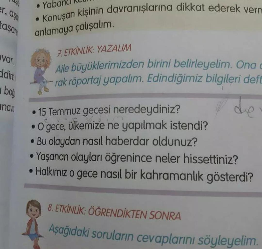ilkokul türkçe kitabındaki 15 temmuz etkinliği