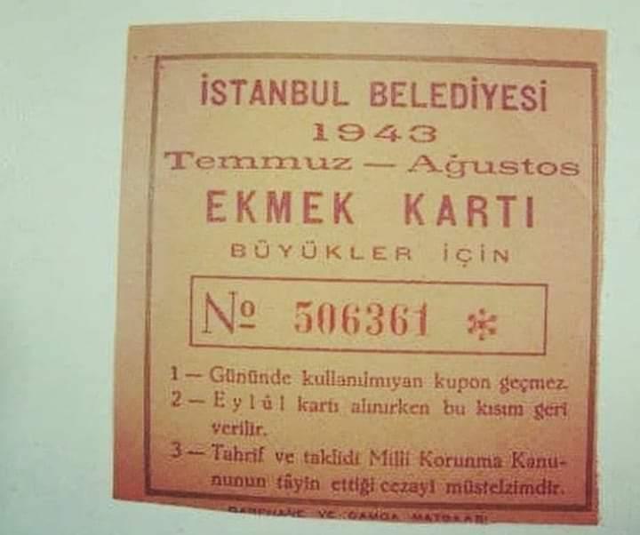 ekmek kartı 1943