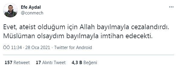 efe aydal ın bayılma tweeti