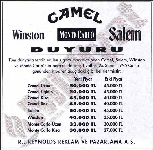 1995 Yılı Sigara Fiyatları Uludağ Sözlük