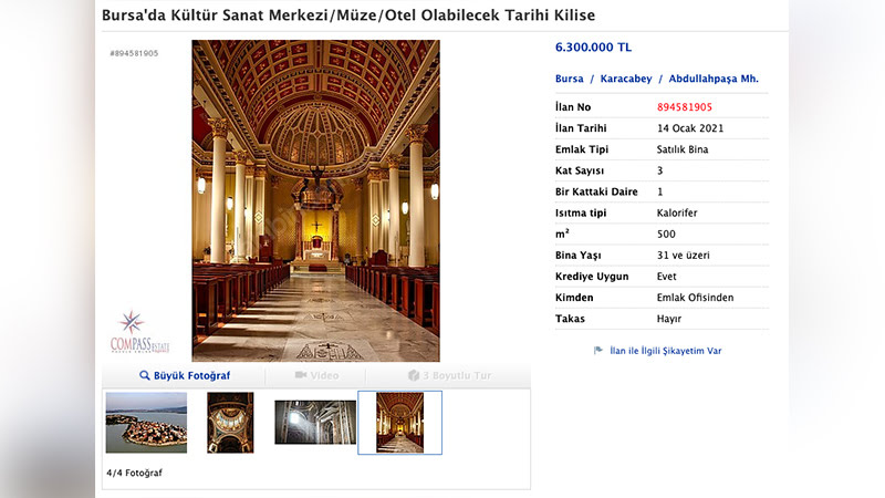 bursa da tarihi kilisenin satışa çıkarılması