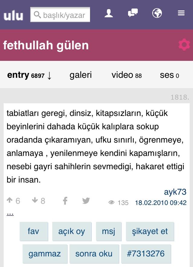 fethullah gülen e saygı sevgi duyan sözlük yazarı
