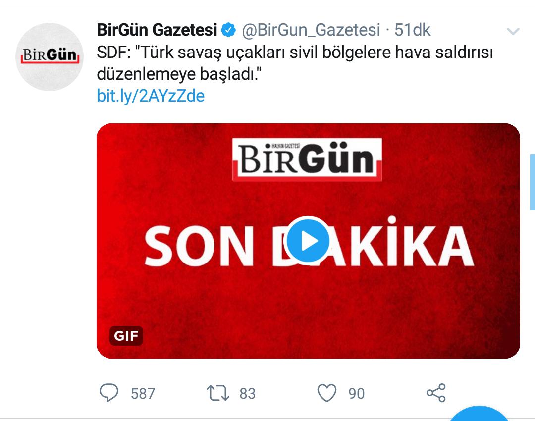 9 ekim 2019 birgün gazetesi twitter paylaşımı