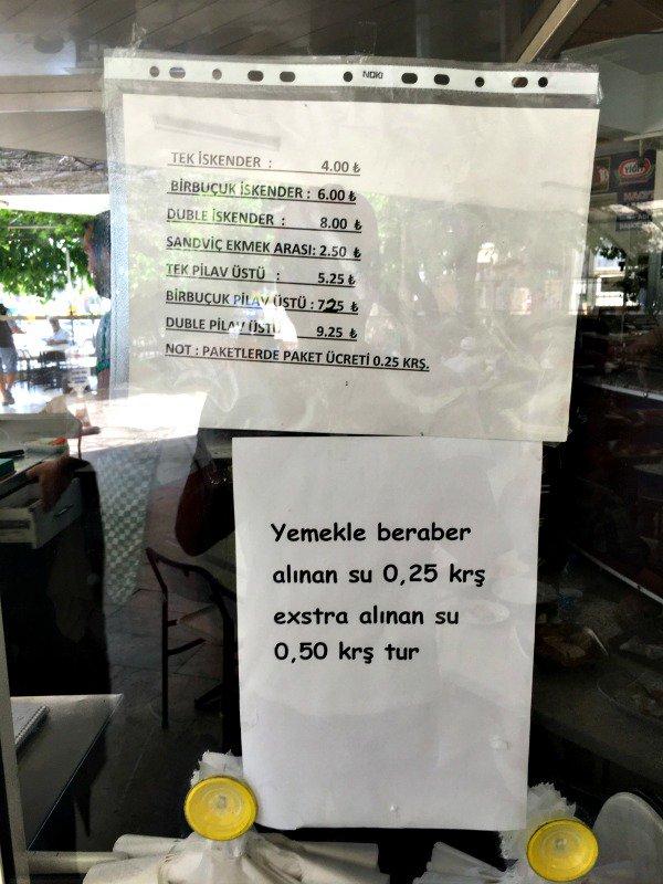 marmaris teki bir lokantanın korkunç fiyat listesi