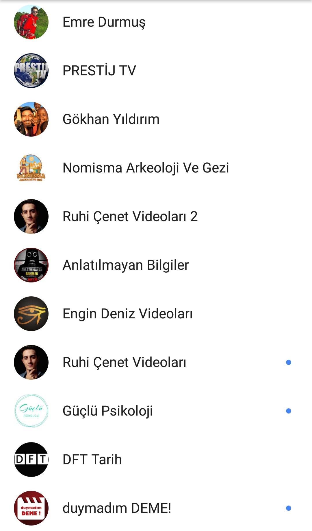 takip ettiğiniz youtube kanalları
