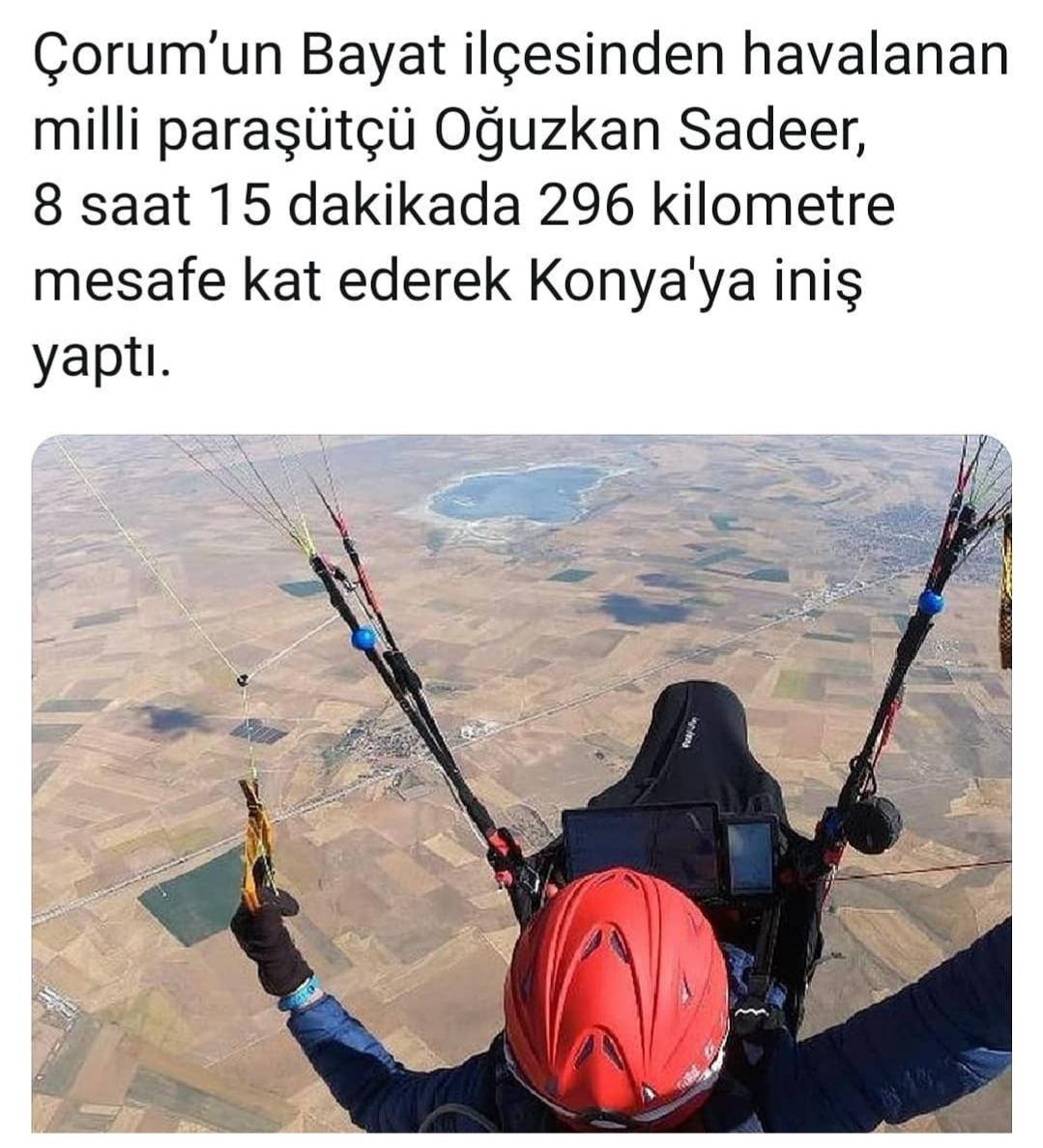 çorum dan konyaya yamaç paraşütü ile uçmak