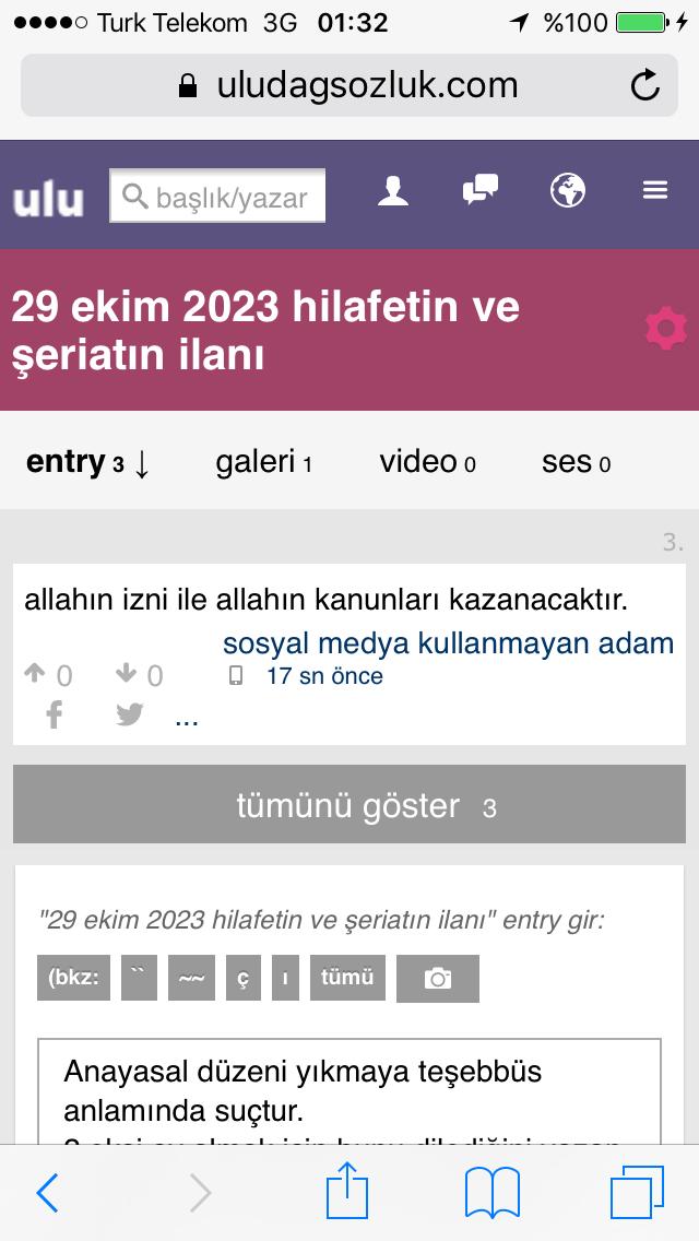 29 ekim 2023 hilafetin ve şeriatın ilanı