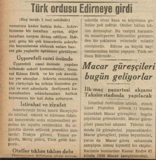 türk askerinin edirneye ağustos 1938 de girmesi