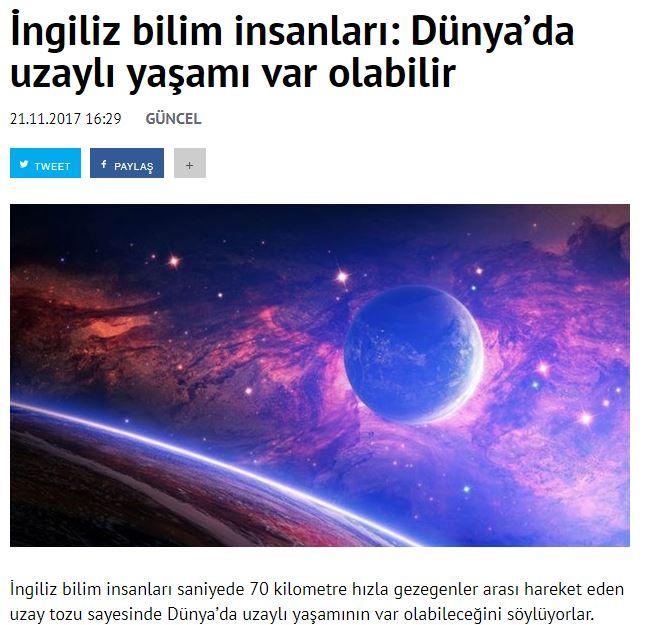 dünya da uzaylı yaşamı var olabilir