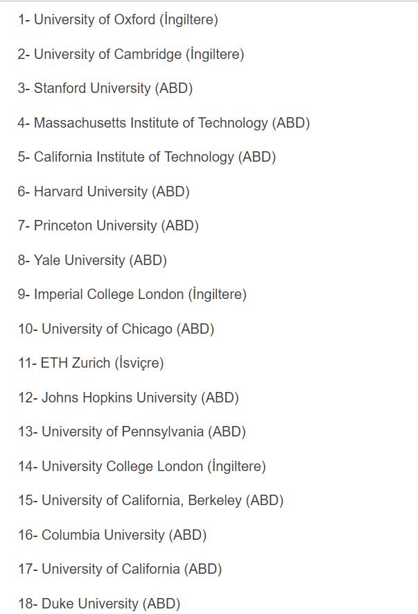 dünyanın en iyi beş yüz üniversitesi
