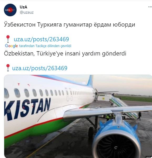 özbekistan ın türkiye ye insani yardım yapması