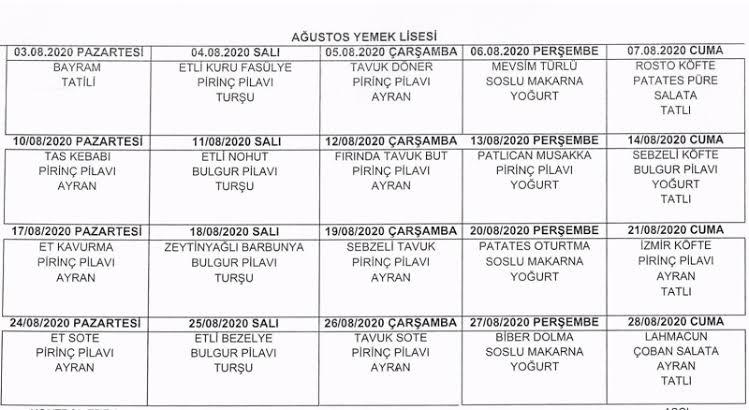 cezaevi yemek listesi